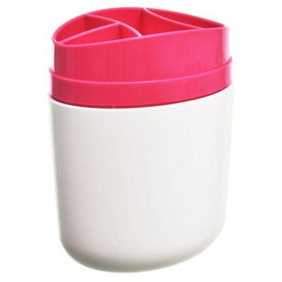 Portacepillo de plástico Full blanco y rosa
