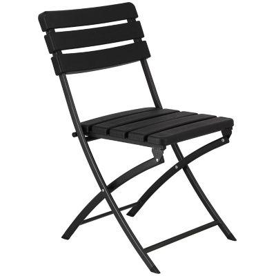 Silla de jardín plegable de plástico y acero negra