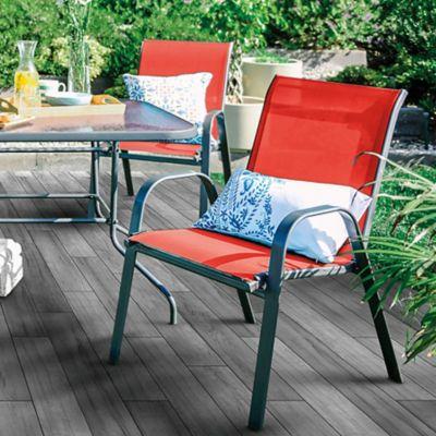Silla de jardín Sling de acero y textileno con apoyabrazos roja