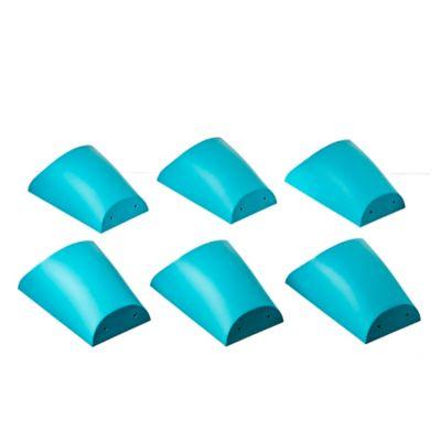 Pack de 6 macetas plásticas con soporte azul
