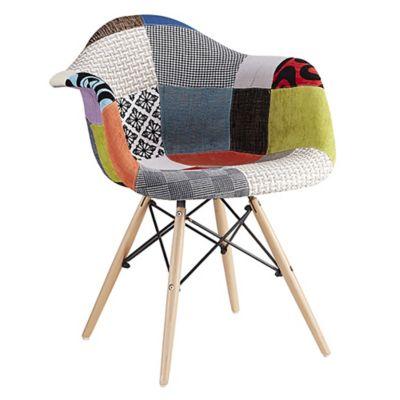 Silla de comedor Eames Patchwork con apoyabrazos multicolor