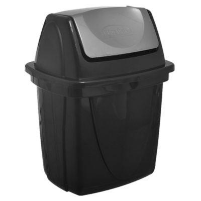 Basurero Eco Black 6.5 L de plástico negro con tapa vai ven