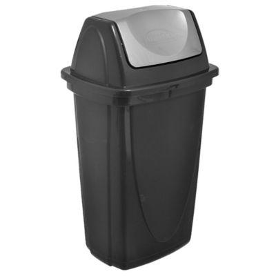 Basurero Eco Black 9 L de plástico negro con tapa vai ven