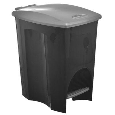 Basurero Eco Black 7 L de plástico negro con pedal