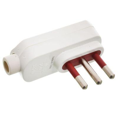 Ficha 3 en línea cable 90 blanco