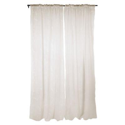 Pack de 2 cortinas de tela velo bordado 140 x 230 cm crudo