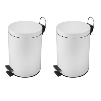 Pack de 2 basureros 5 L de acero inoxidable blanco con pedal