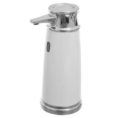 Dispensador de jabón automático con sensor blanco y plateado