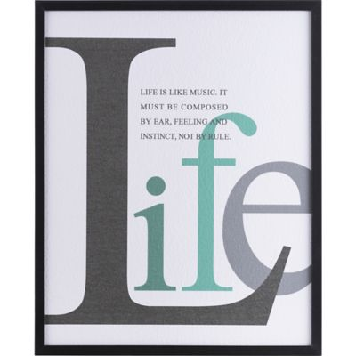 Cuadro frase life 42 x 52 cm negro