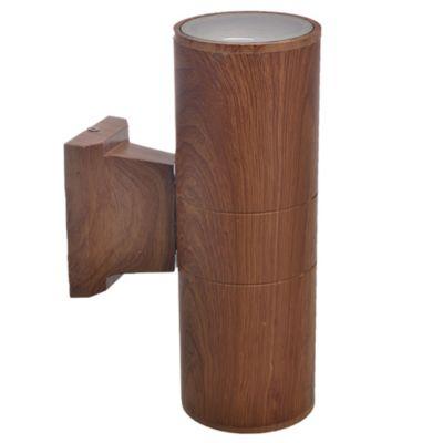 Aplique exterior cilindro bidireccional madera 2x E27