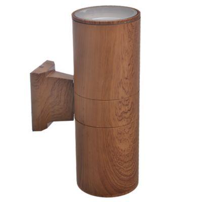 Aplique exterior cilindro R80 bidireccional madera 2x E27
