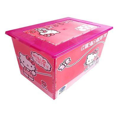 Caja organizadora de plástico con tapa Mybox Hello Kitty rosa 27 L