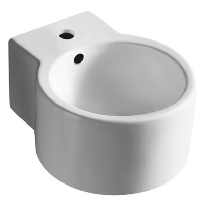 Bacha circular loza colgante 34 x 27 x 15.5 cm blanco