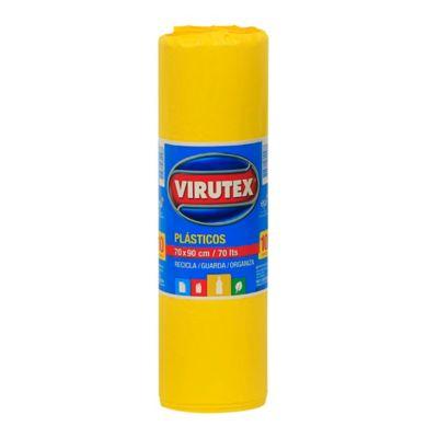 Pack de 10 bolsas de basura amarilla 70 x 90 cm