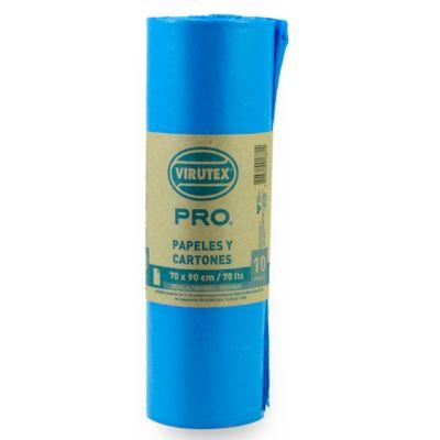 Pack de 10 bolsas de basura azul 70 x 90 cm