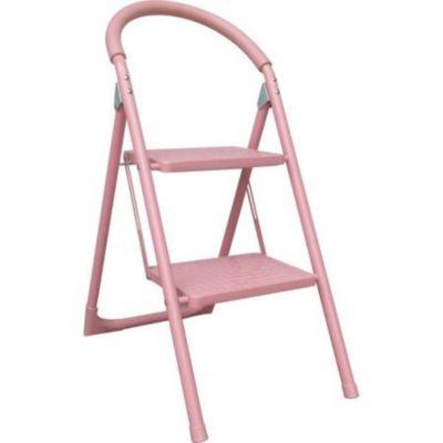 Escalera tijera doméstica de aluminio 2 escalones rosa 82 cm