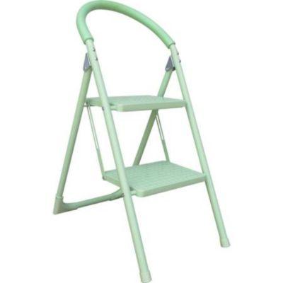 Escalera tijera doméstica de aluminio 2 escalones verde 82 cm