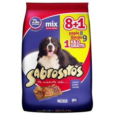 Alimento para perro 8 + 1 kg carne, pescado y cerdo