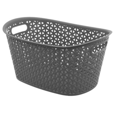 Canasto organizador de plástico ovalado gris 9 L