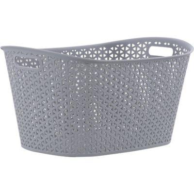 Canasto organizador de plástico ovalado gris 24 L