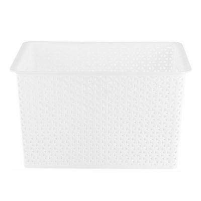 Canasto organizador de plástico cuadrado blanco 35 L