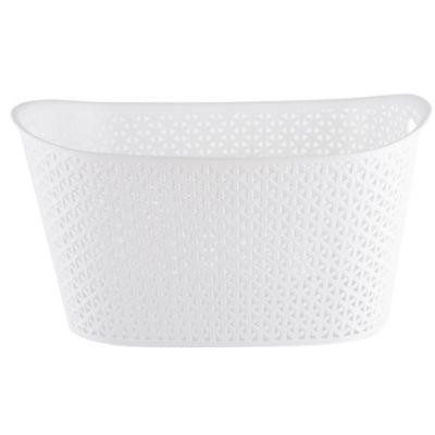 Canasto organizador de plástico ovalado blanco 24 L