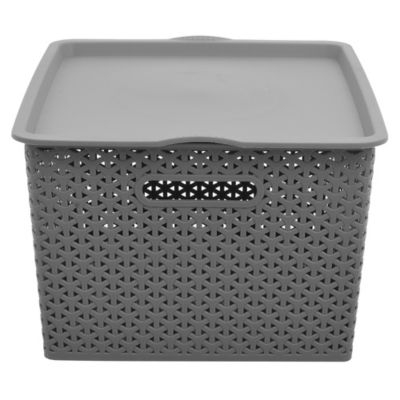 Canasto organizador de plástico con tapa gris 35 L
