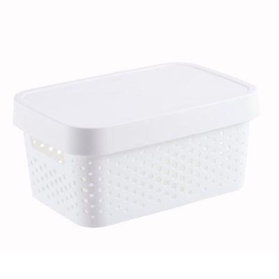 Canasto organizador de plástico con tapa Infinity blanco 4,5 L