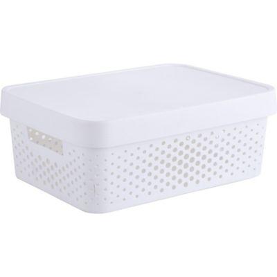 Canasto organizador de plástico con tapa Infinity blanco 11 L