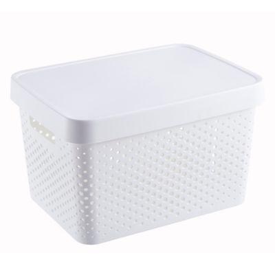 Canasto organizador de plástico infinity con tapa blanco 17 L