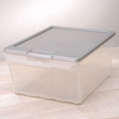 Caja organizadora de plástico con tapa y apertura frontal transparente 15 L