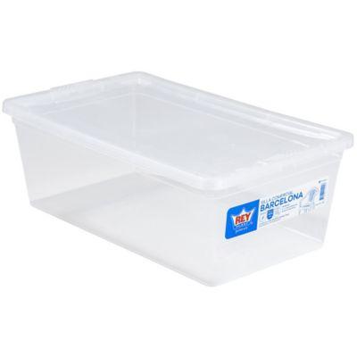 Pack de 10 cajas organizadoras de plástico con tapa Modubox traslúcidas 6 L