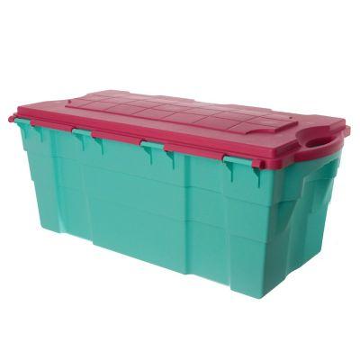 Baúl organizador de plástico verde y rosa 100 L