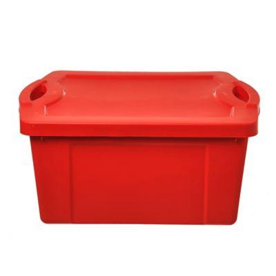 Caja organizadora de plástico con tapa Fullbox roja 55 L