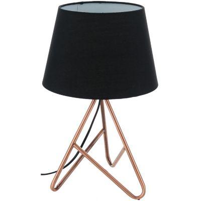 Lámpara de mesa Delft negra y cobre 1 luz E14