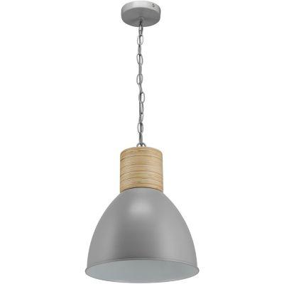 Lámpara colgante Assen gris 1 luz E27