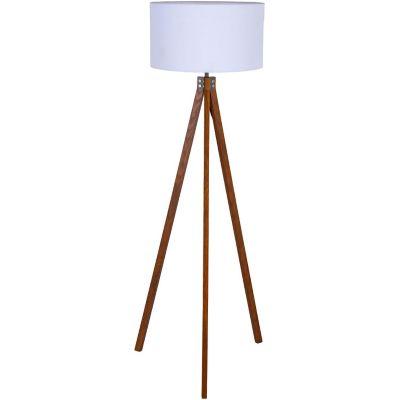 Lámpara de pie Lisse blanco y natural 1 luz E27
