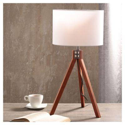 Lámpara de mesa Lisse blanco y natural 1 luz E27