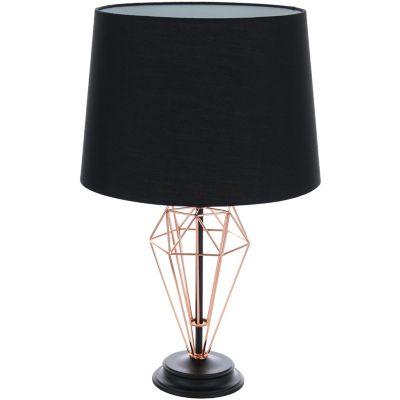 Lámpara de mesa Mapple negra y cobre 1 luz E27