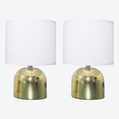Pack de 2 lámparas de mesa Chic blanca y dorada 1 luz E14