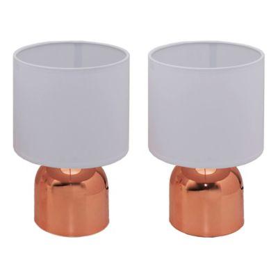 Pack de 2 lámparas de mesa Chic blanca y rosa 1 luz E14