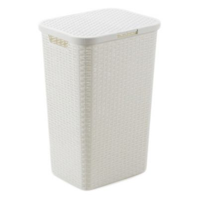 Canasto organizador de plástico con tapa blanco