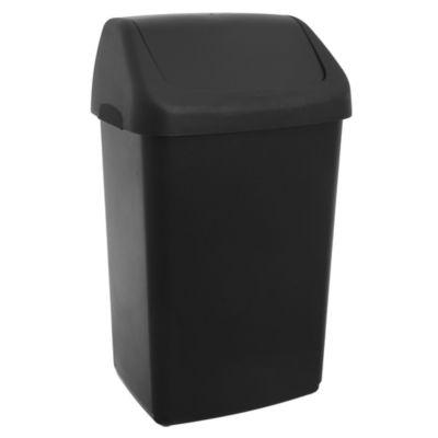 Basurero 50 L de plástico negro con tapa vai ven