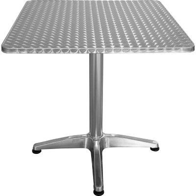 Mesa de jardín de aluminio cuadrada plateada
