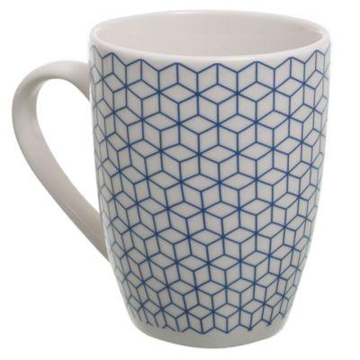 Taza de gres blanca y azul