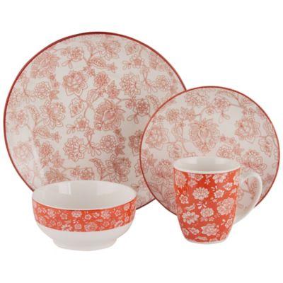 Juego de vajilla de cerámica rojo y blanco 16 piezas