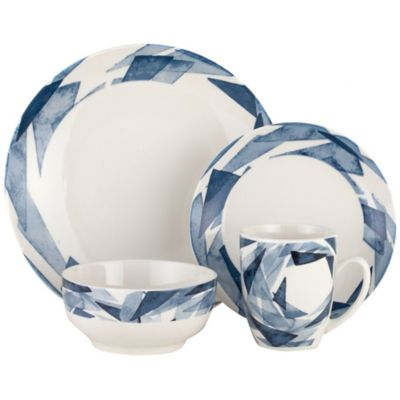 Juego de vajilla de cerámica azul y blanco 16 piezas