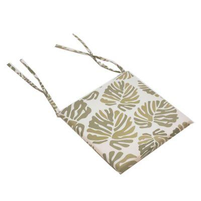 Almohadón para silla Hoja tropical 37 x 37 cm blanca y verde