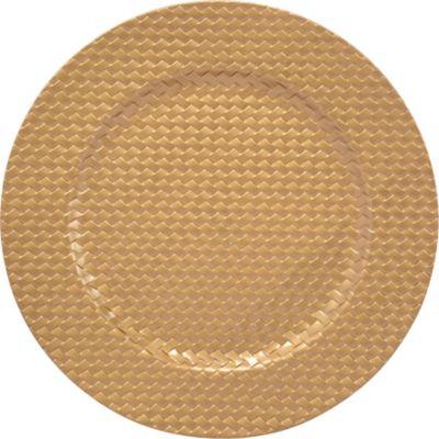 Plato redondo 33 cm Dorado texturado