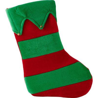Bota navideña de tela con campanas